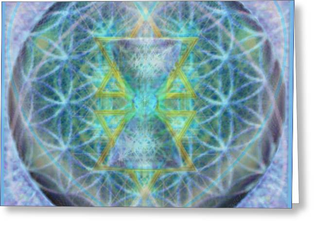 Flower Of Life Forested Chalice In Subtle Bluelavs Greeting Card by Christopher Pringer