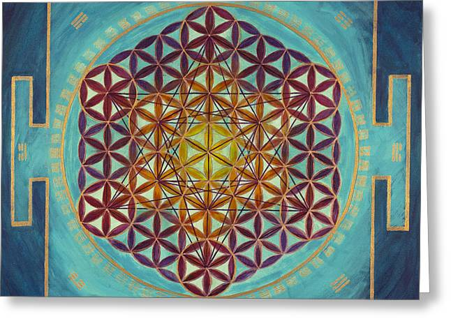 Flower Of Life - I Ching Greeting Card by Angie Bray-Widner