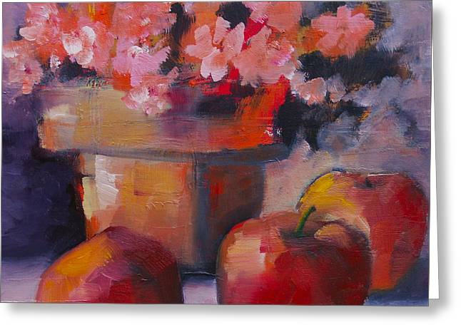 Flower Pot And Apples Greeting Card by Michelle Abrams