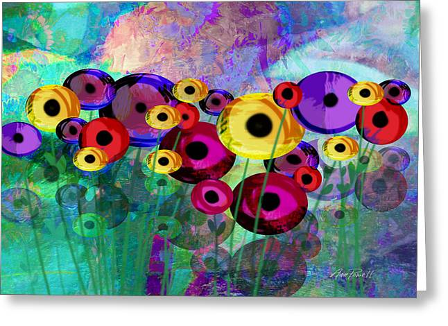 Flower Power Abstract Art  Greeting Card by Ann Powell