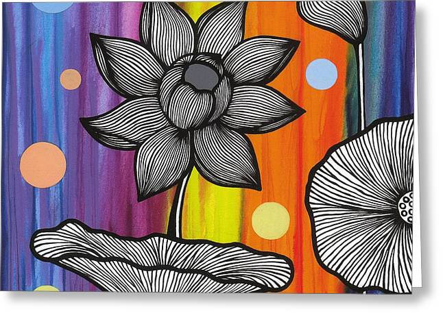 Greeting Card featuring the painting Flower Power by Carla Bank
