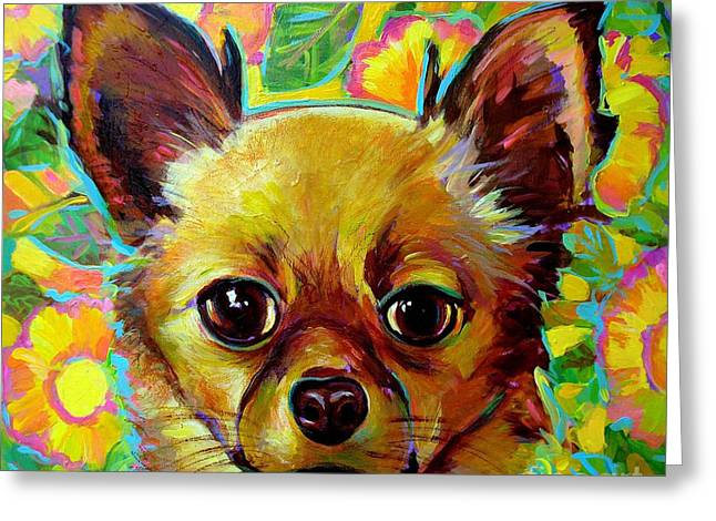 Flower Power Chihuahua Greeting Card