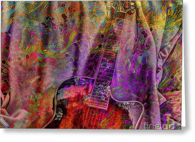 Flower Power Digital Guitar Art By Steven Langston Greeting Card by Steven Lebron Langston