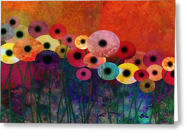 Flower Power Five Abstract Art Greeting Card by Ann Powell