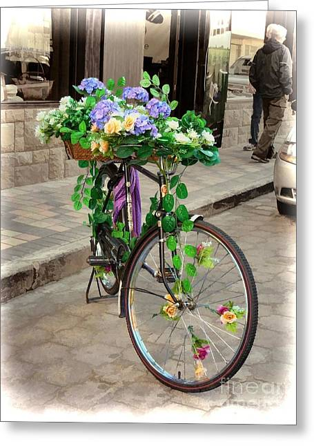 Flower Power Meets Pedal Power  Greeting Card