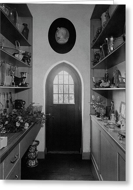 Flower Room In The Home Of Mrs. Charles Wheeler Greeting Card by Peter Nyholm & F.S. Lincoln