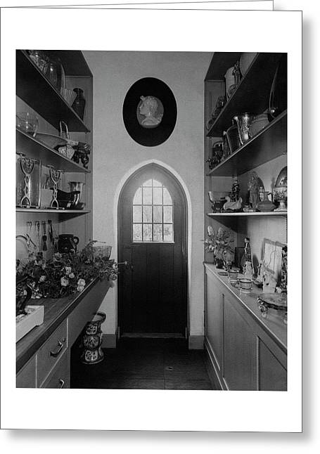 Flower Room In The Home Of Mrs. Charles Wheeler Greeting Card
