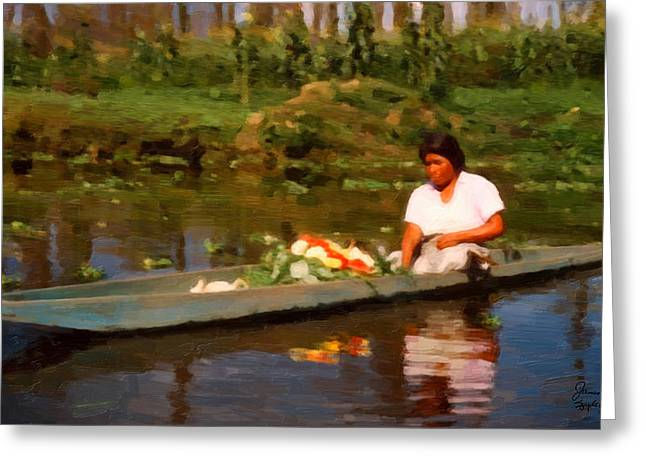 Flower Seller Xochimilco Greeting Card by Spyder Webb