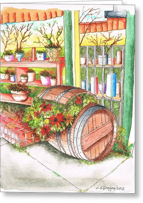 Barrel With Flowers In A Flower Shop In West Hollywood - California Greeting Card by Carlos G Groppa