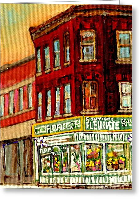 Flower Shop Painting Boutique Coin Vert Fleuriste Montreal Central 3403 Rue Notre-dame Scenes  Greeting Card by Carole Spandau