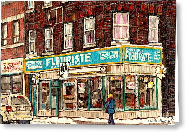 Flower Shop Rue Notre Dame Street Coin Vert Fleuriste Boutique Montreal Winter Stroll Scene Greeting Card by Carole Spandau