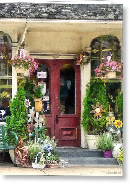 Flower Shop With Birdhouse Greeting Card