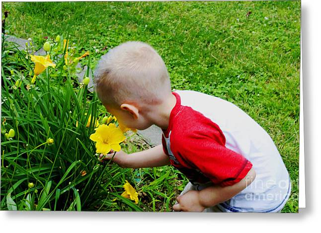 Flower - Stopping To Smell The Flowers -  Luther Fine Art Greeting Card