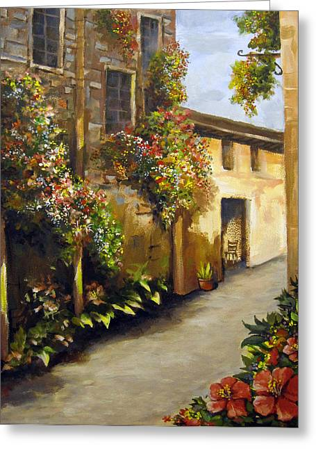 Greeting Card featuring the painting Flower Street by Carol Hart