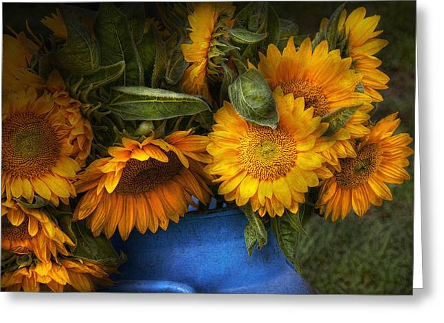 Flower - Sunflower - The Suns Have Risen  Greeting Card by Mike Savad