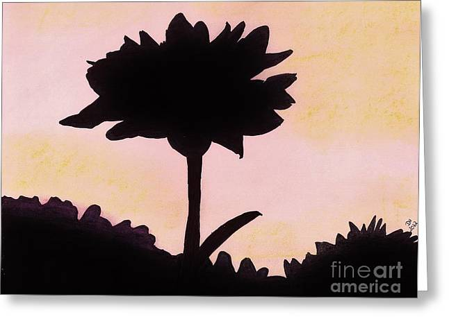 Greeting Card featuring the drawing Flower - Sunrise by D Hackett