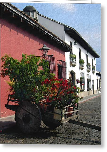Flower Wagon Antigua Guatemala Greeting Card