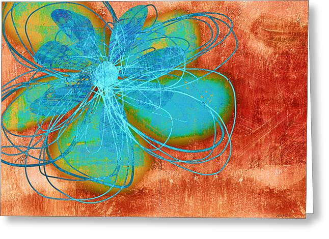 Flower  Whimsy In Blue Greeting Card by Ann Powell