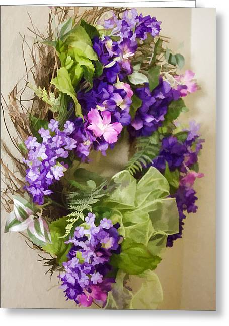 Greeting Card featuring the digital art Flower Wreath by Photographic Art by Russel Ray Photos