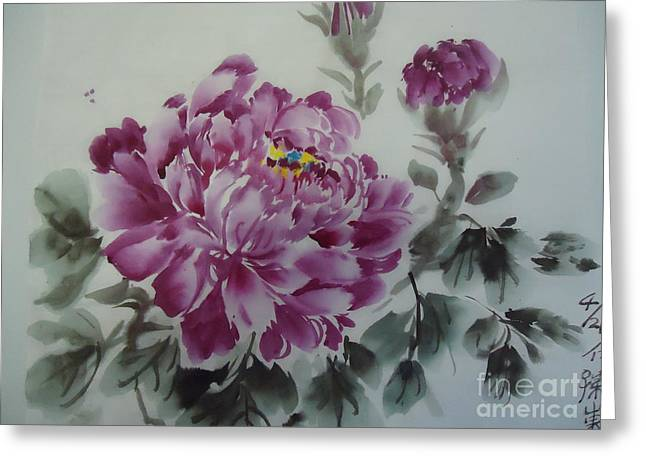 Greeting Card featuring the painting Flower427012-4 by Dongling Sun