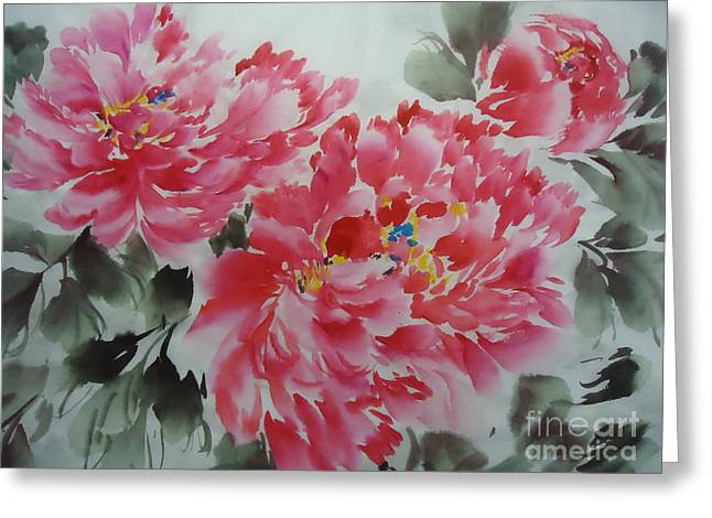 Greeting Card featuring the painting Flower51012-4 by Dongling Sun