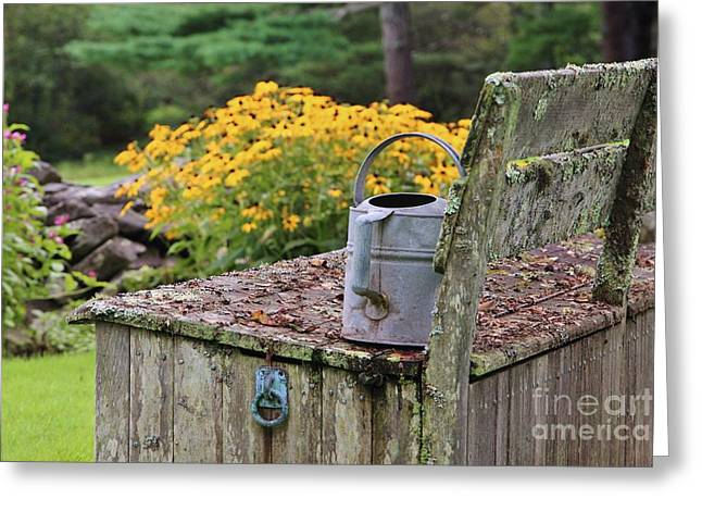 Flowered Bench Greeting Card