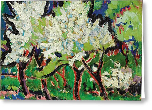 Flowering Trees Iv Greeting Card by Ernst Ludwig Kirchner