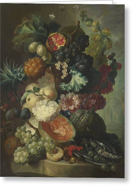Flowers And A Fish Greeting Card by Jan van Os