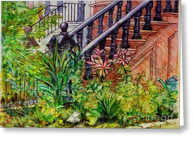 Flowers And Balustrade Eighth Street Greeting Card