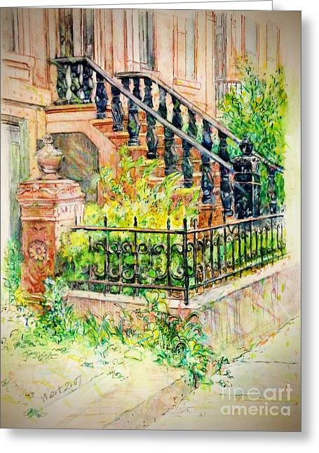 Flowers And Balustrade Ninth Street Greeting Card