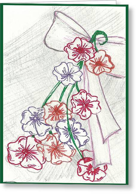 Flowers And Bow Greeting Card by Becky Sterling