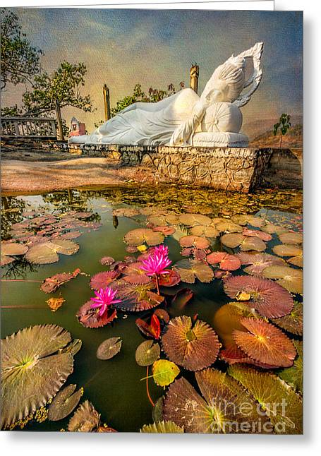 Flowers And Buddha Greeting Card by Adrian Evans