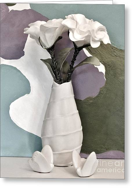 Flowers And Butterflies Greeting Card by Marsha Heiken