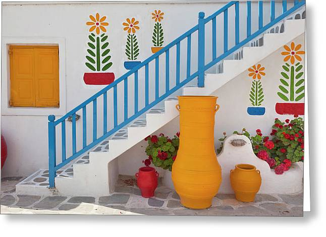 Flowers And Colorful Pots, Chora Greeting Card by Adam Jones