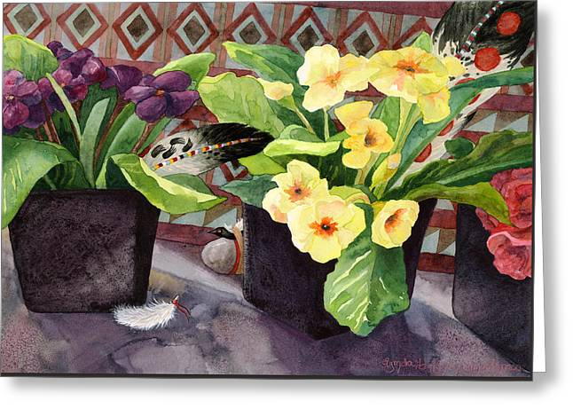 Flowers And Eagle Feathers Greeting Card by Lynda Hoffman-Snodgrass