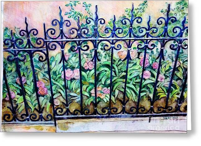 Flowers And Fence On Eighth Avenue Greeting Card