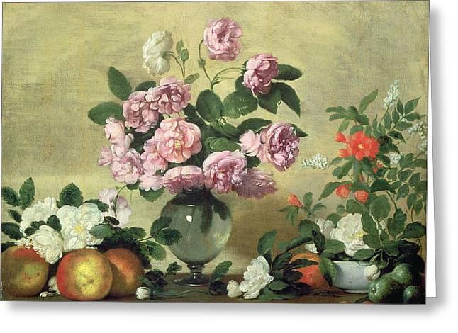 Flowers And Fruit Greeting Card by Bernardo Strozzi