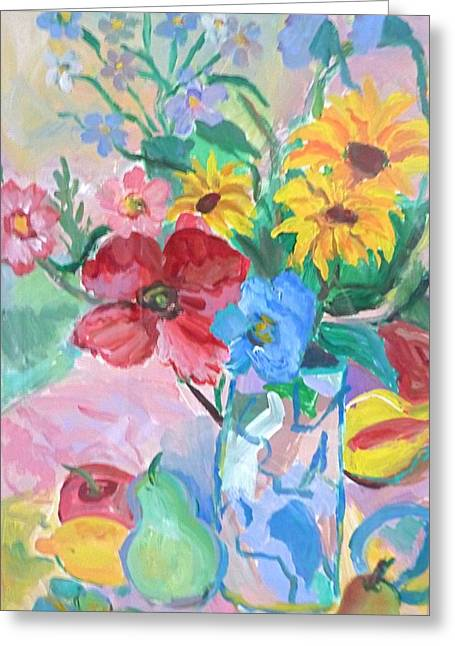 Flowers And Fruits Greeting Card by Brenda Ruark