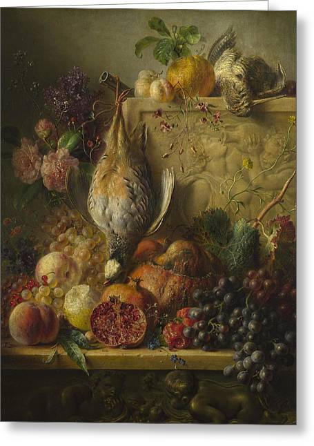Flowers And Game Greeting Card by Georgius Jacobus Johannes van Os