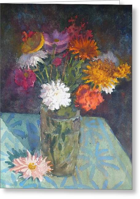 Flowers And Glass Greeting Card