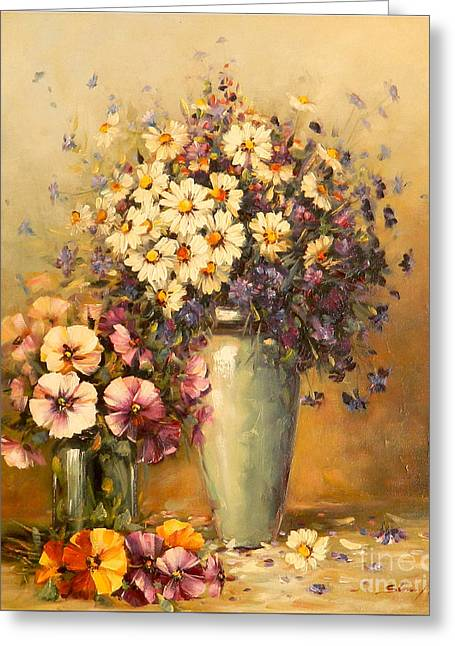 Flowers And Harmony Greeting Card by Petrica Sincu