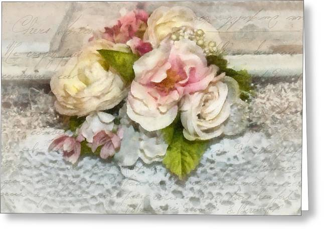 Flowers And Lace Greeting Card by Kathy Jennings