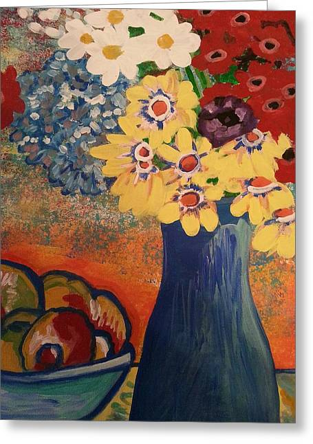 Flowers And Oranges Greeting Card