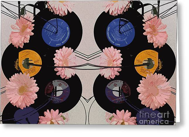 Flowers And Phonographs Greeting Card