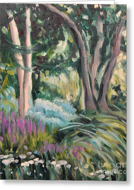 Flowers And Shade Greeting Card by Hilary England