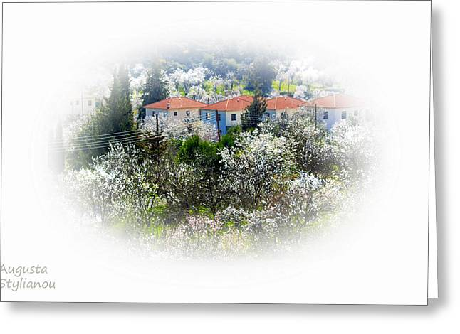 Flowers And Villas Greeting Card by Augusta Stylianou