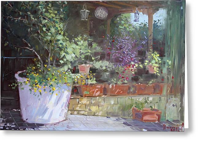 Flowers At Lida's Veranda Greeting Card