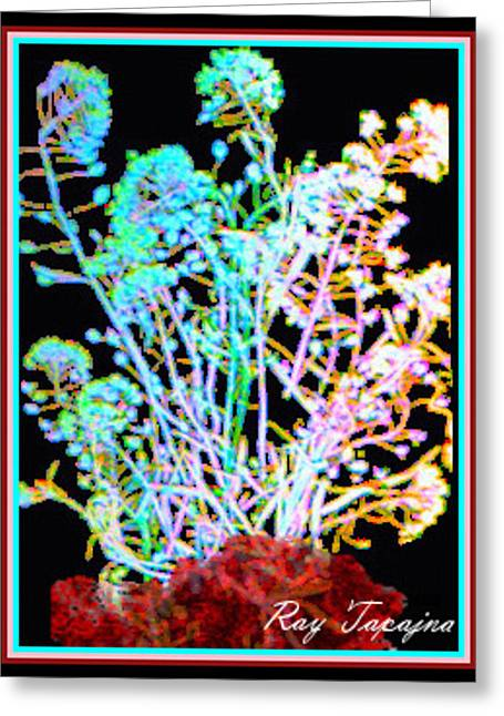Flowers At Night Greeting Card by Ray Tapajna
