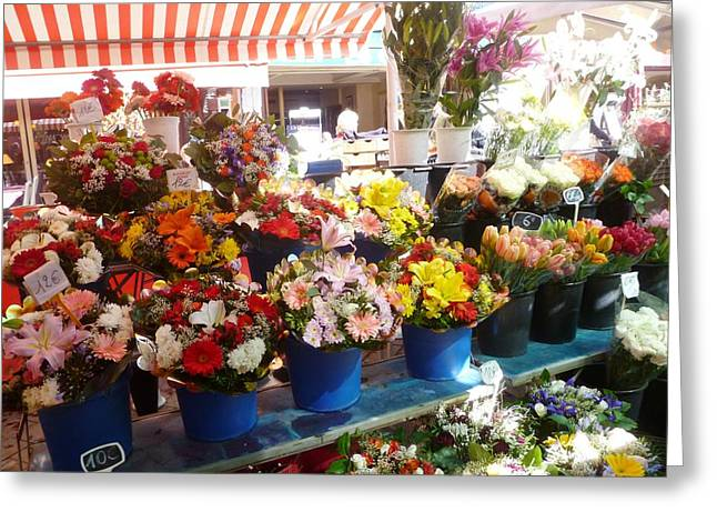 Flowers At The Market Greeting Card by Carolyn Jones