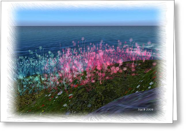 Greeting Card featuring the digital art Flowers By The Sea by Susanne Baumann